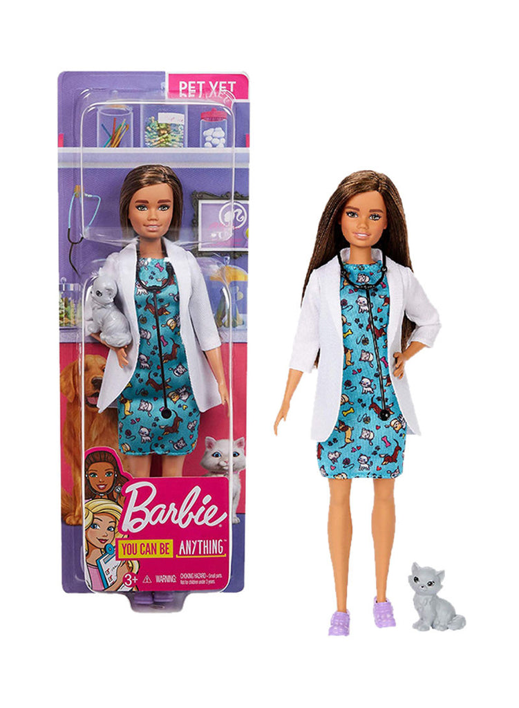 Career Pet Vet Brunette Doll With Cat 12inch