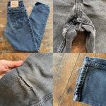 "Vintage 1990's Highwaisted Faded Black Grey 550 Levi's Jeans ""24 ""25"