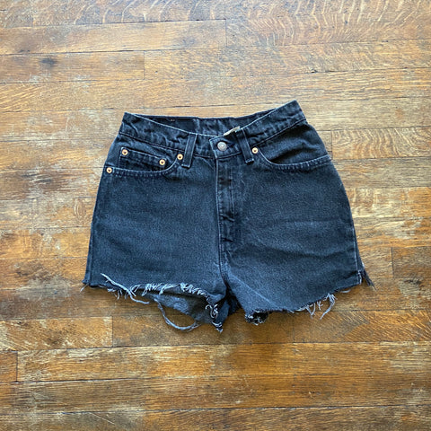 "Black Vintage Levi's 512 Cutoff Shorts ""23 ""24"