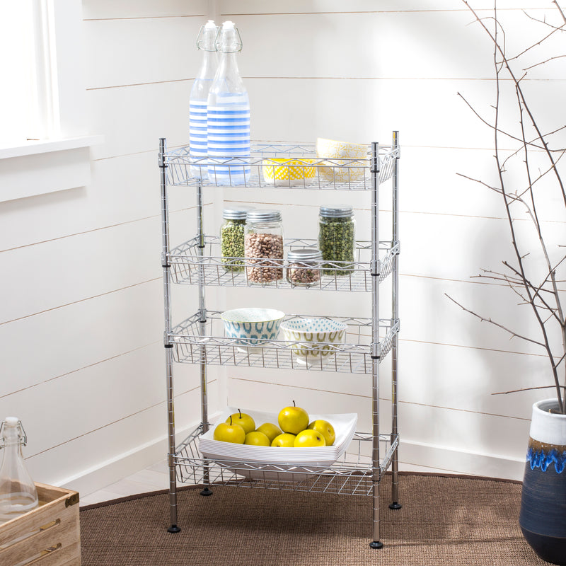 "Aventura 31"" 4-Tier Wire Basket Rack"