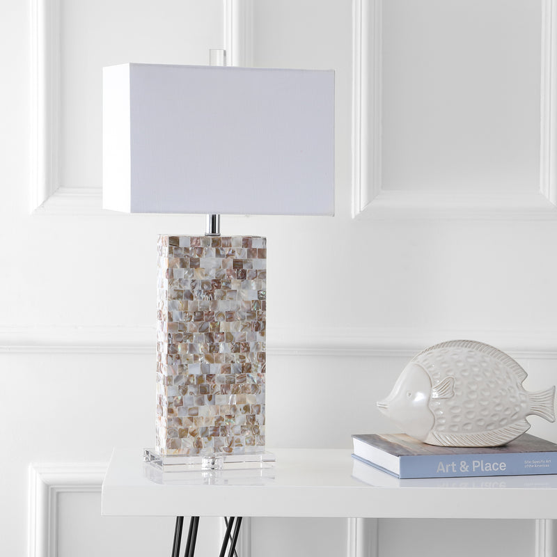 "Jonathan Y Cannon 29"" Seashell and Crystal LED Table Lamp"
