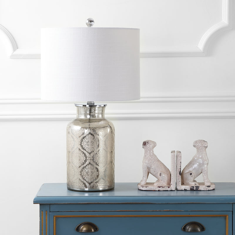 "Emilia 24.5"" Trellis Pattern Glass LED Table Lamp"