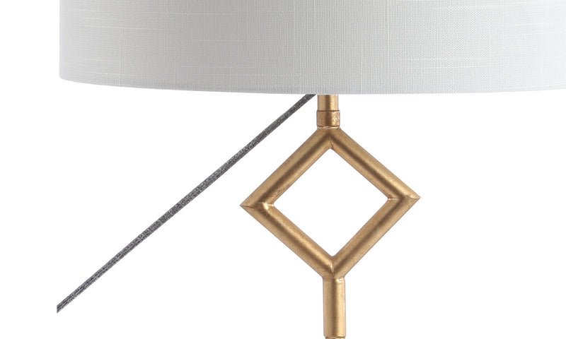 "Diamante 29.5"" Modern Gilt Metal with Marble Base LED Table Lamp"