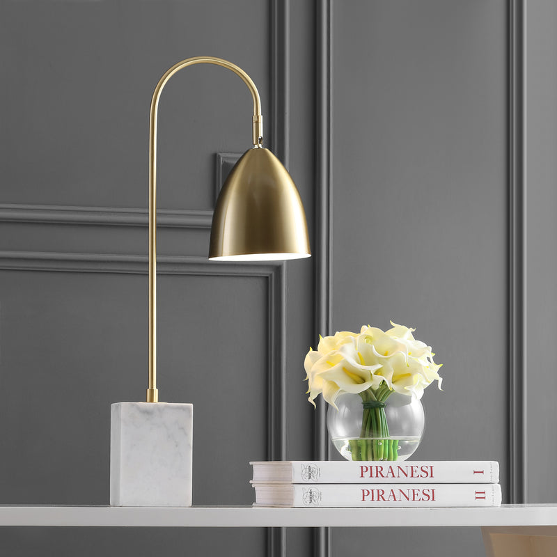 "Ana 26"" Gold Arched Metal with Marble Base LED Table Lamp"