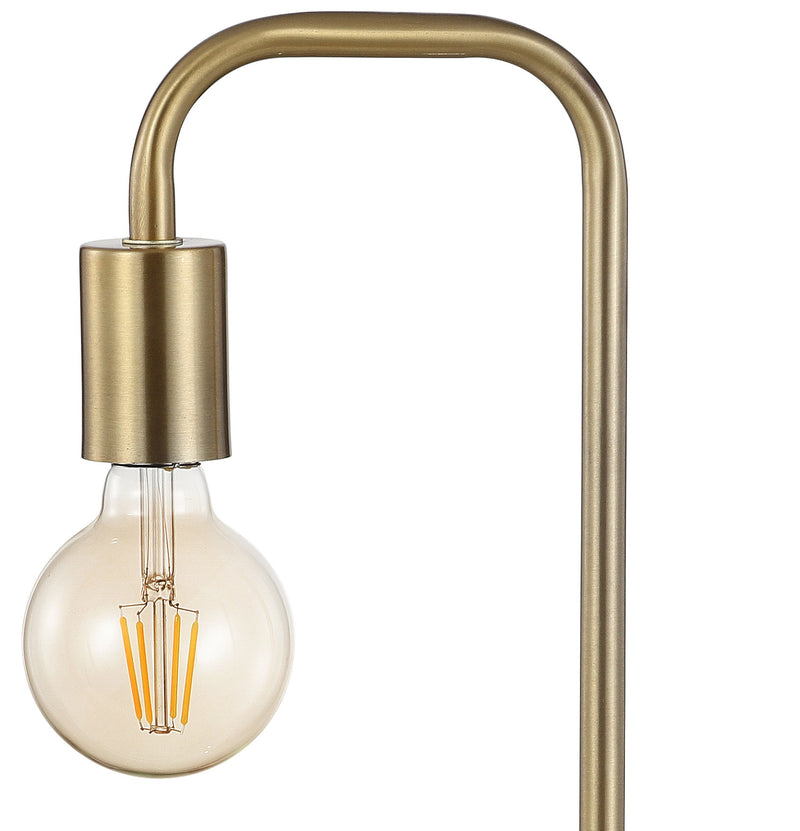 "Axel 20.5"" Minimalist Glam Gold Pipe Metal/Marble LED Table Lamp"