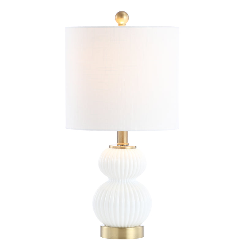 "Daphne 20"" Ribbed Metal/Glass LED Table Lamp"