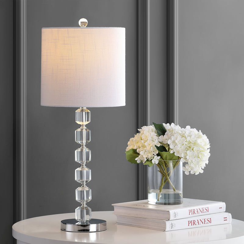 "Cary 27.5"" Modern Stacked Crystal/Metal LED Table Lamp"
