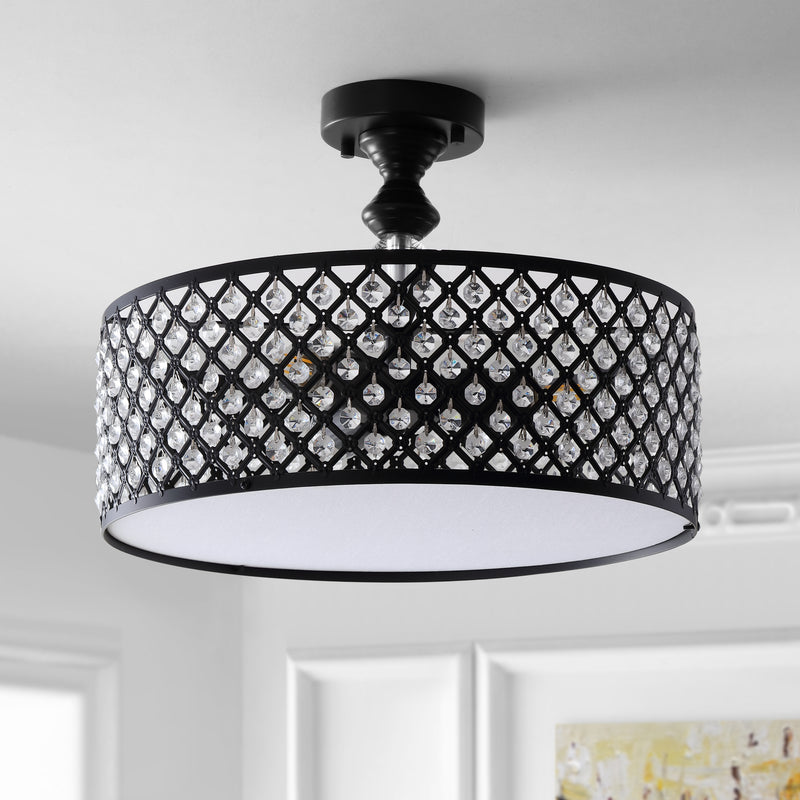 "Elise 17"" 3-Light Crystal/Metal Drum Semi-Flush Mount"