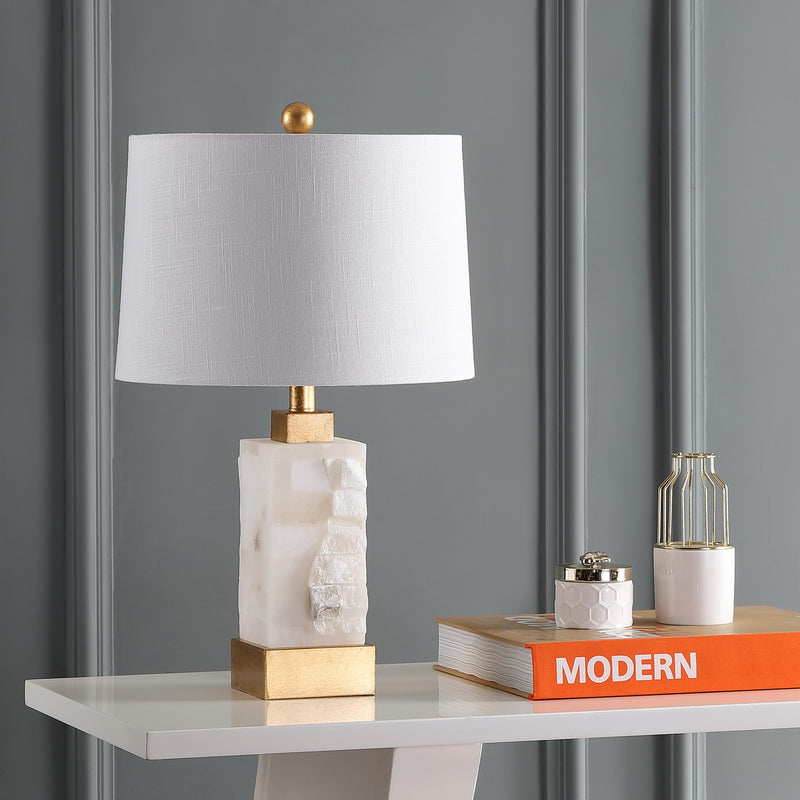 "Jonathan Y Eloise 23"" Alabaster/Metal LED Table Lamp"