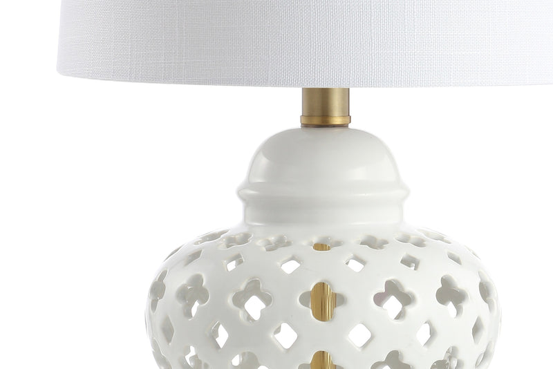 "Quatrefoil Fretwork 20.5"" Pierced Ginger Jar Ceramic/Metal LED Table Lamp"