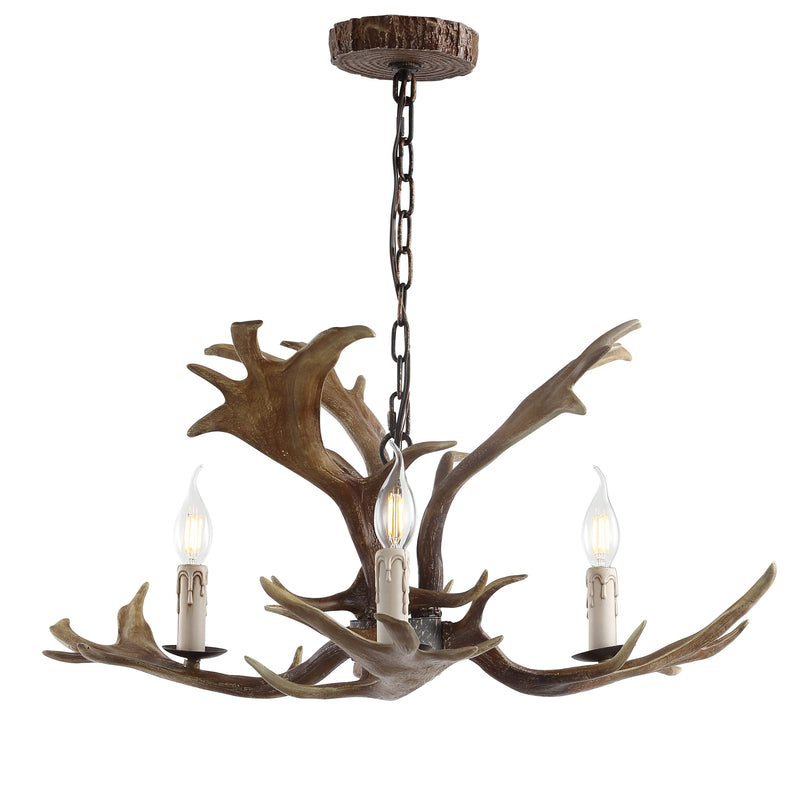 "Eldora 27"" Adjustable Resin Antler 3-Light LED Chandelier"