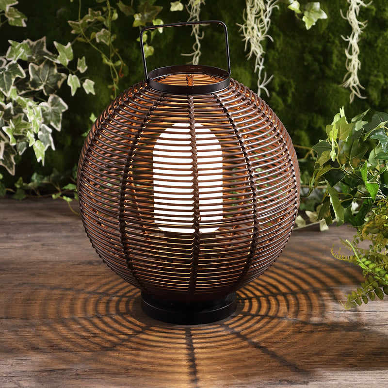 "Jigu 22"" Outdoor Woven Globe Asian LED Lantern"