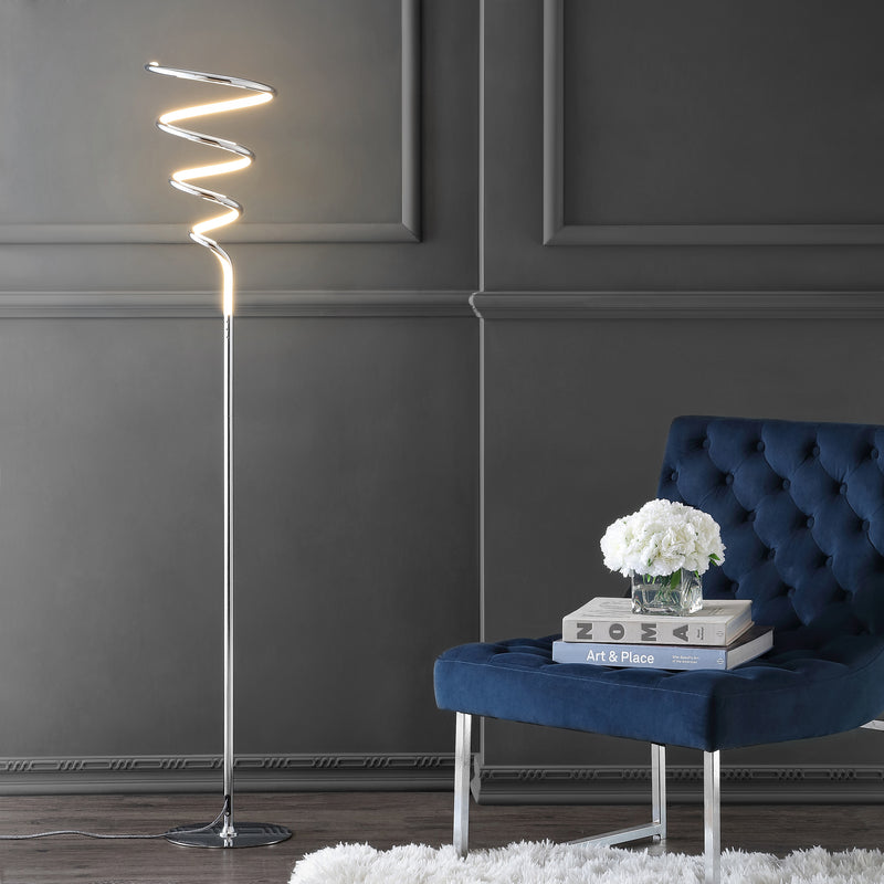 "Scribble 60.5"" Modern Dimmable Metal Integrated LED Floor Lamp"