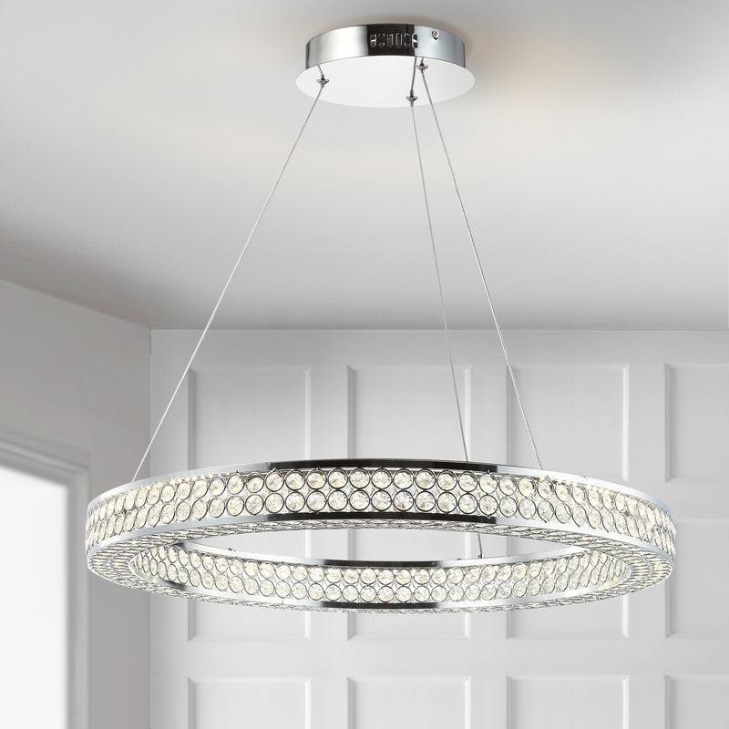 "Benton 24.7"" Round Integrated LED Crystal/Metal Chandelier"