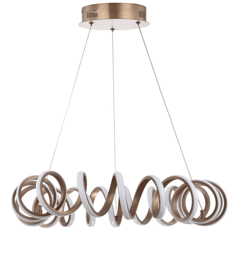 "Cursive 24"" Adjustable Spiral Integrated LED Metal Chandelier Ceiling Light"