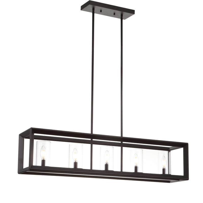 "Anna 38.5"" Linear 5-light Metal/Glass LED Pendant"