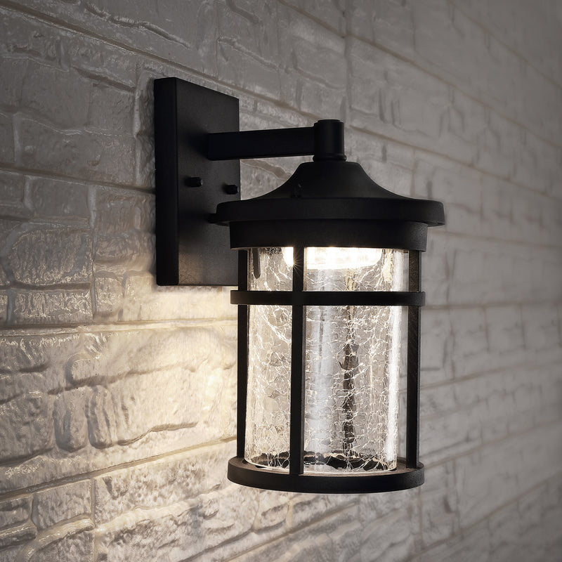 "Campo 11.5"" Outdoor Wall Lantern Crackled Glass/Metal Integrated LED Sconce"