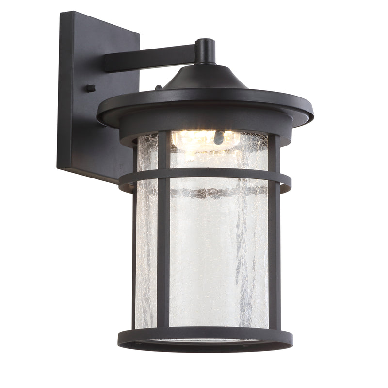 "Porto 14"" Outdoor Wall Lantern Crackled Glass/Metal Integrated LED Sconce"