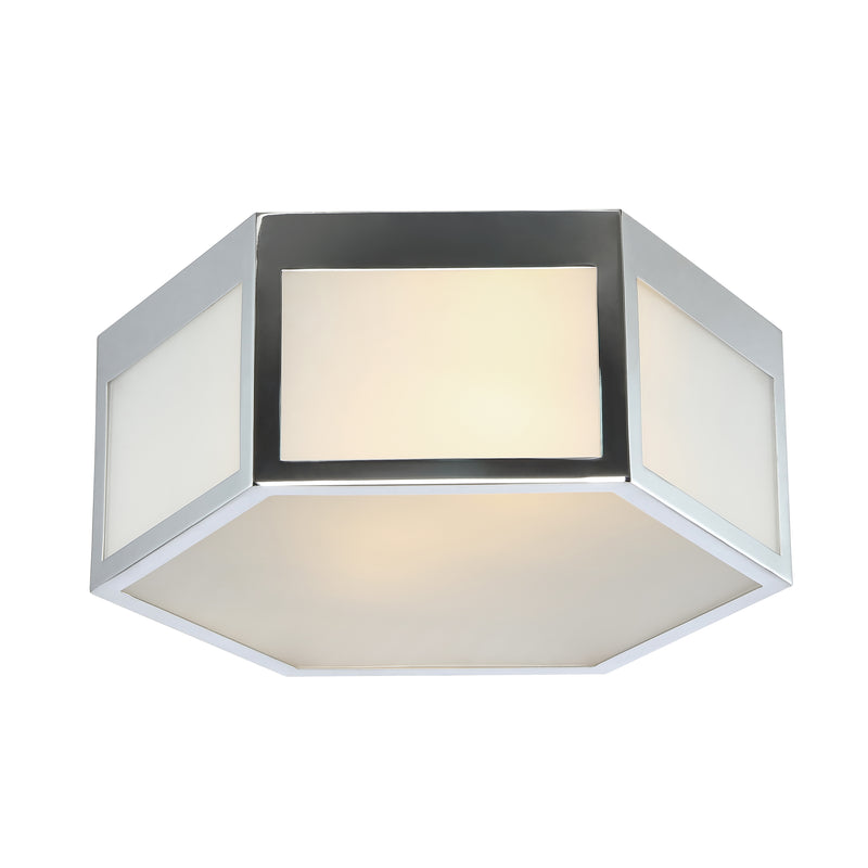 "Minimo 13"" Hexagon Metal/Frosted Glass LED Flush Mount"