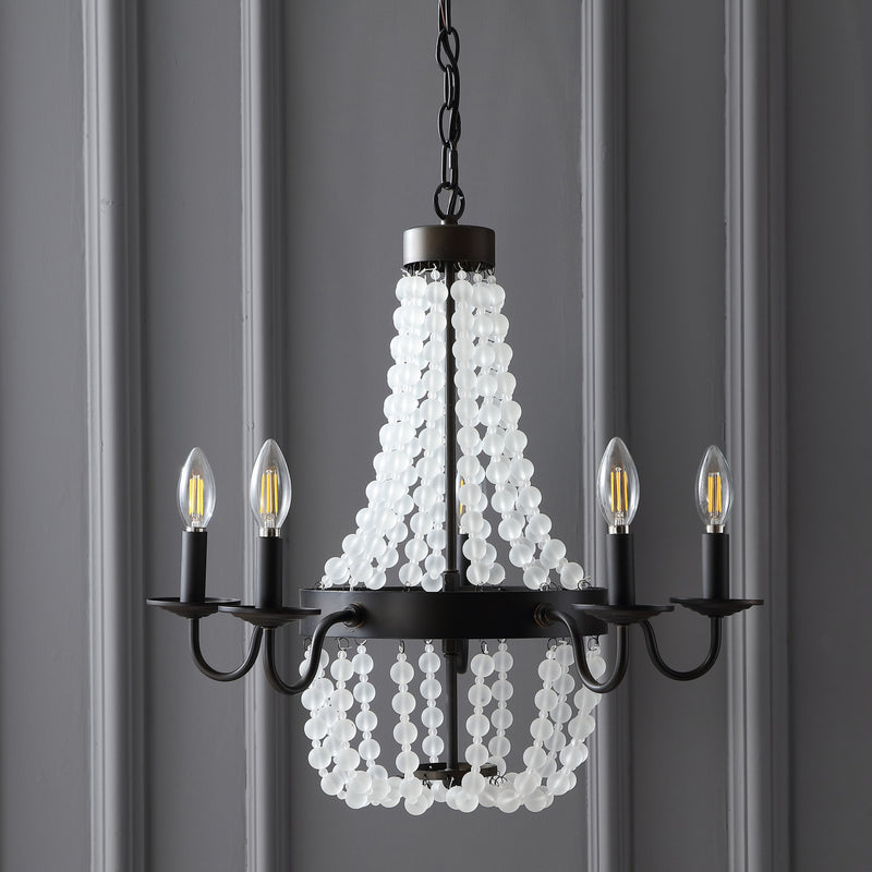 "Jonathan Y Nova 5-Light 21.5"" Acrylic Beaded LED Chandelier"