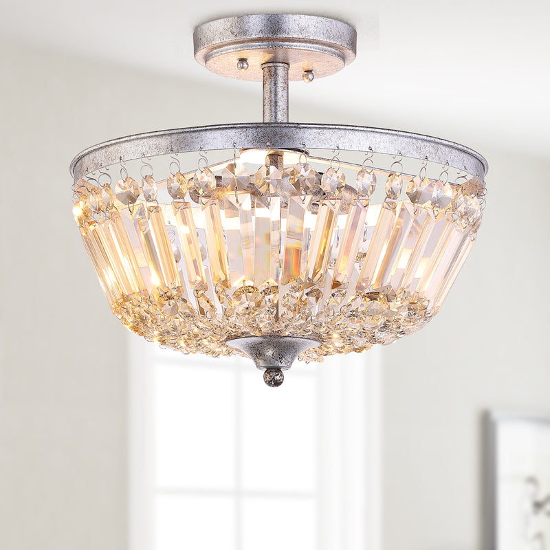 "Caleb 14.2"" 3-Light Crystal / Metal LED Semi-Flush Mount"