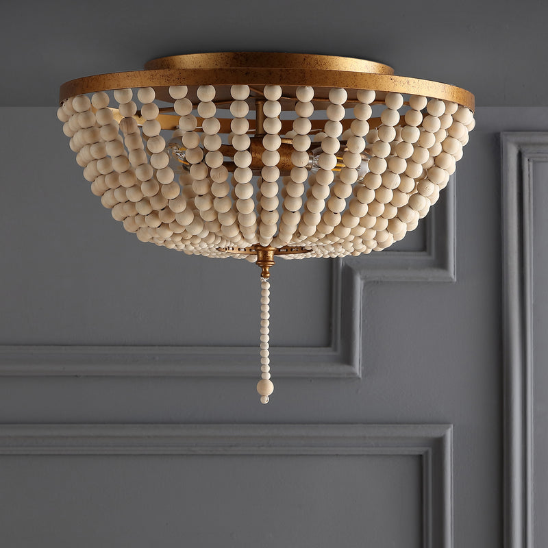 "Allison 15"" Wood Beaded/Metal LED Flush Mount"