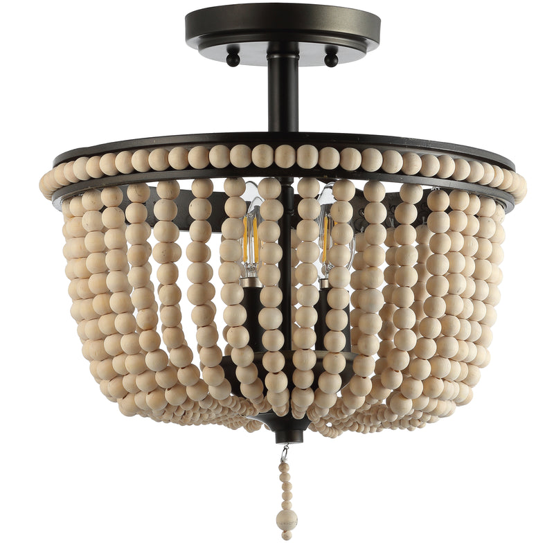"Allie 14"" Wood Beaded/Metal LED Flush Mount"