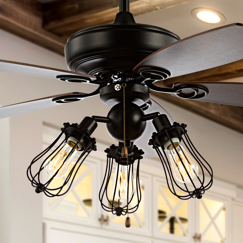 "Lucas 52"" Caged 3-Light Metal/Wood LED Ceiling Fan"