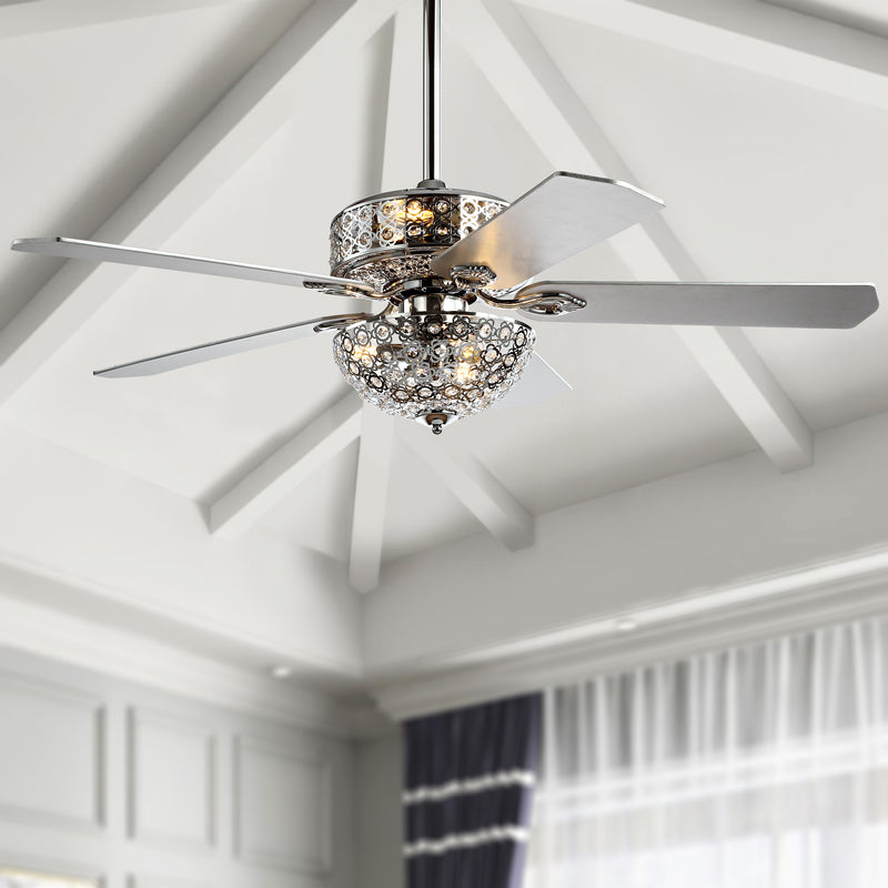 "Zara 52"" Filigree 6-Light Metal/Wood LED Ceiling Fan"
