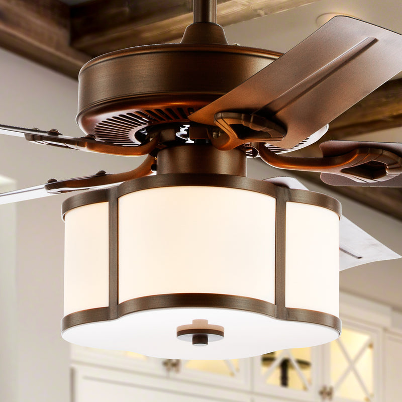 "Edith 52"" 3-Light Metal/Wood LED Ceiling Fan With Remote"