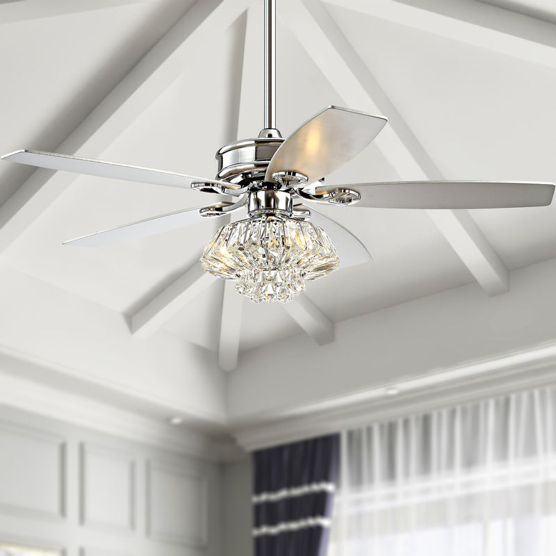 "Jonathan Y Kate 48"" 3-Light Glam Crystal Drum LED Ceiling Fan With Remote"