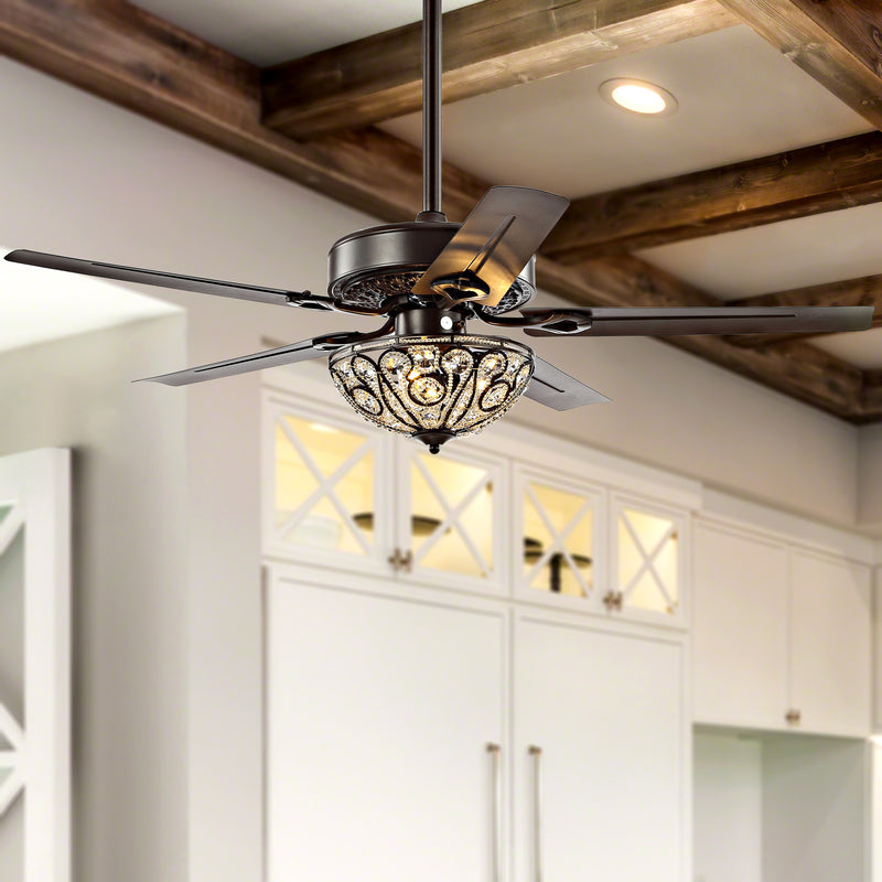 "Jonathan Y Ali 52"" 3-Light Wrought Iron LED Ceiling Fan With Remote"