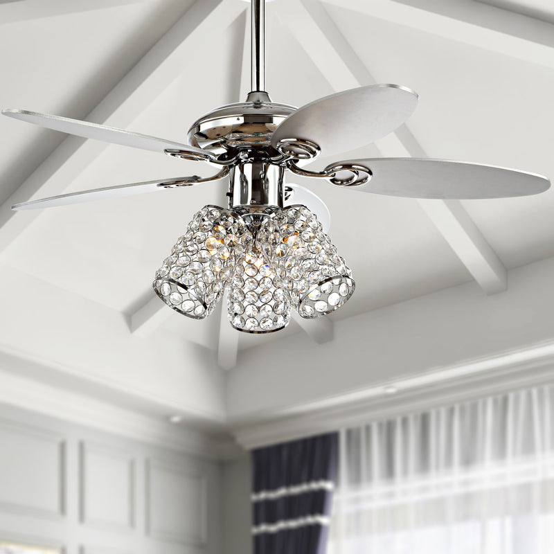 "Kris 42"" 3-Light Crystal LED Ceiling Fan With Remote"