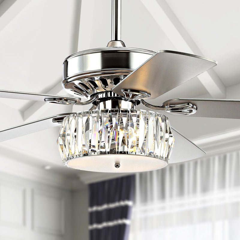 "Jonathan Y Mandy 52"" 3-Light Crystal Prism Drum LED Ceiling Fan With Remote"