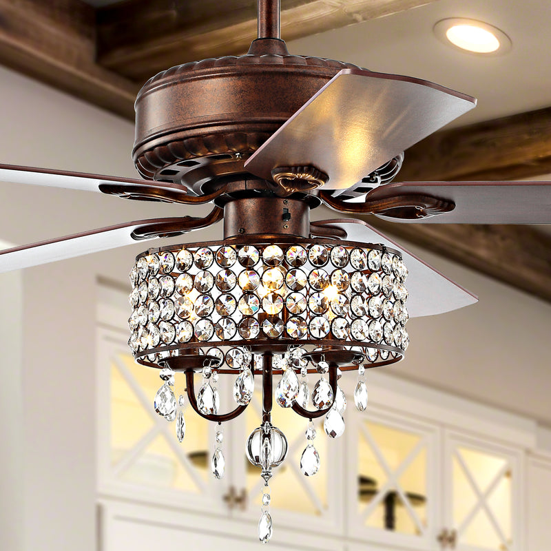 "Becky 52"" 3-Light Crystal LED Chandelier Fan With Remote"