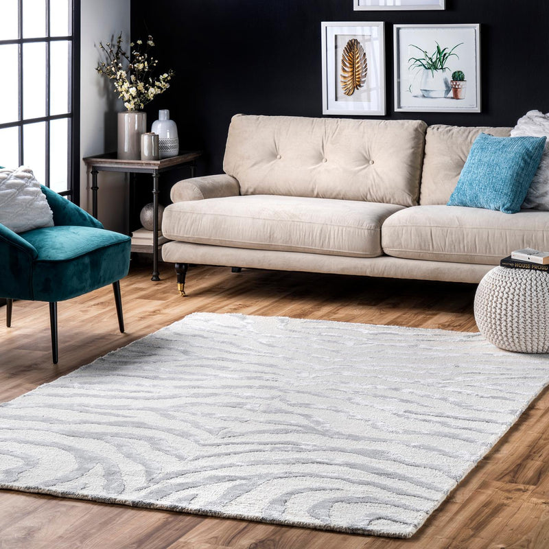 Hand Tufted Plush Zebra Area Rug