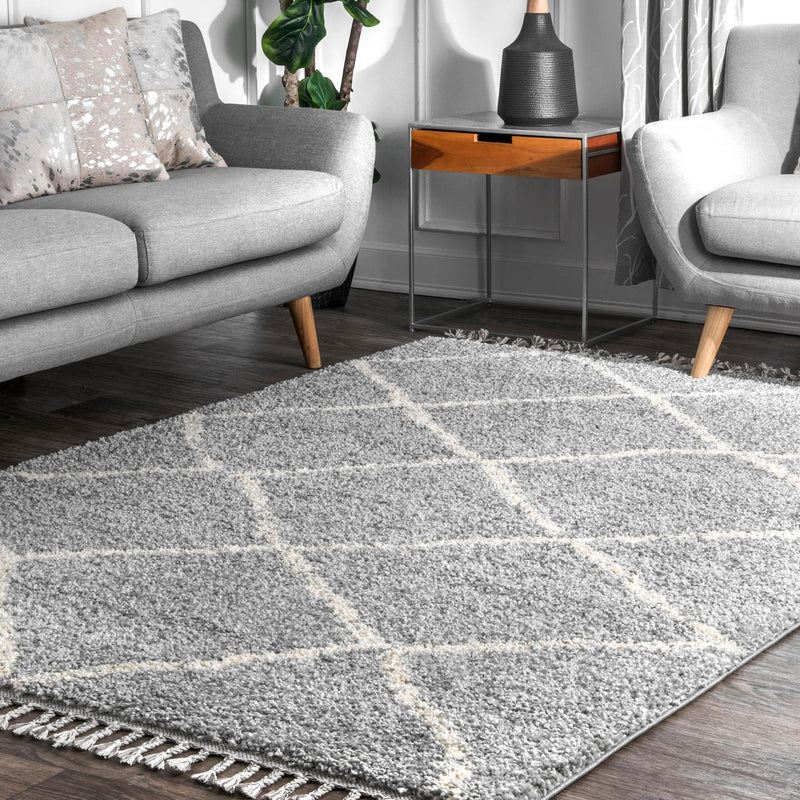 Jessie Moroccan Lattice Tassel Area Rug
