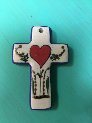 Small Ceramic Heart Cross