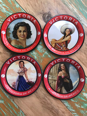 Set of 4 Mexican Vintage Girl Drink Coasters