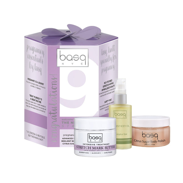 Image of basq 9 month stretch essentials kit.  Stretch mark butter, body oil and sugar scrub
