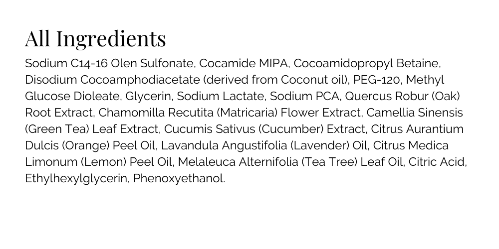 basq NYC Anti Blemish Face Wash Ingredient List