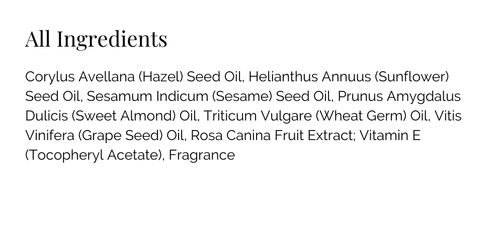 Resilient Body Oil Ingredient list