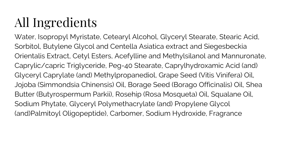 Stretch Mark Butter Ingredient List\