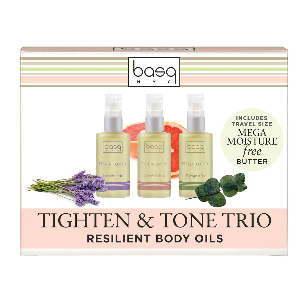 Image of basq Tighten and Tone Trio of resilient body oils