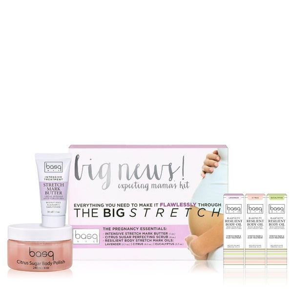 Image of basq Big News Minis kit- Sugar body polish, mini stretch mark butter and three mini body oils