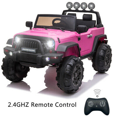 12V Kids Ride On Truck Car w/ Remote Control LED Lights 3 Speeds w/ Storage Pink