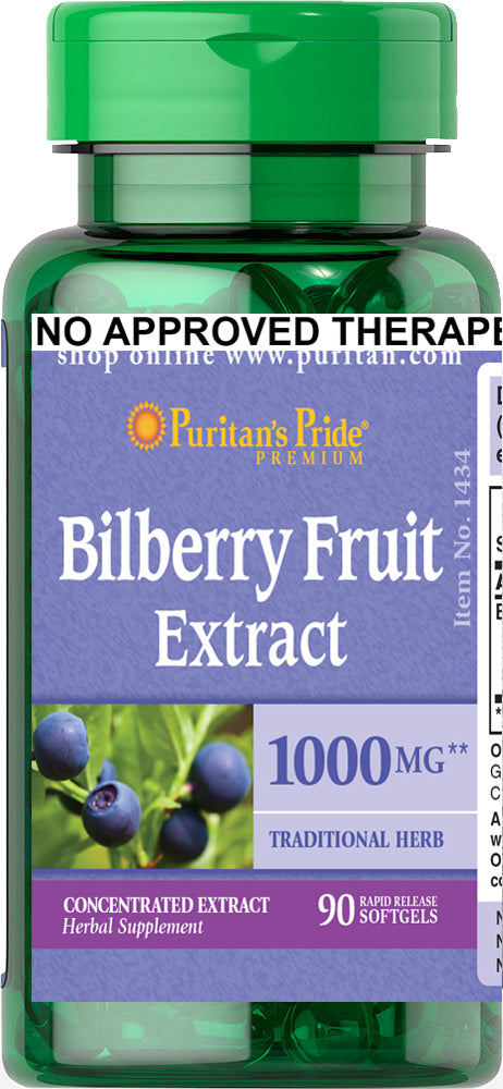 Puritan's Pride Bilberry Extract 1000mg 90 softgels