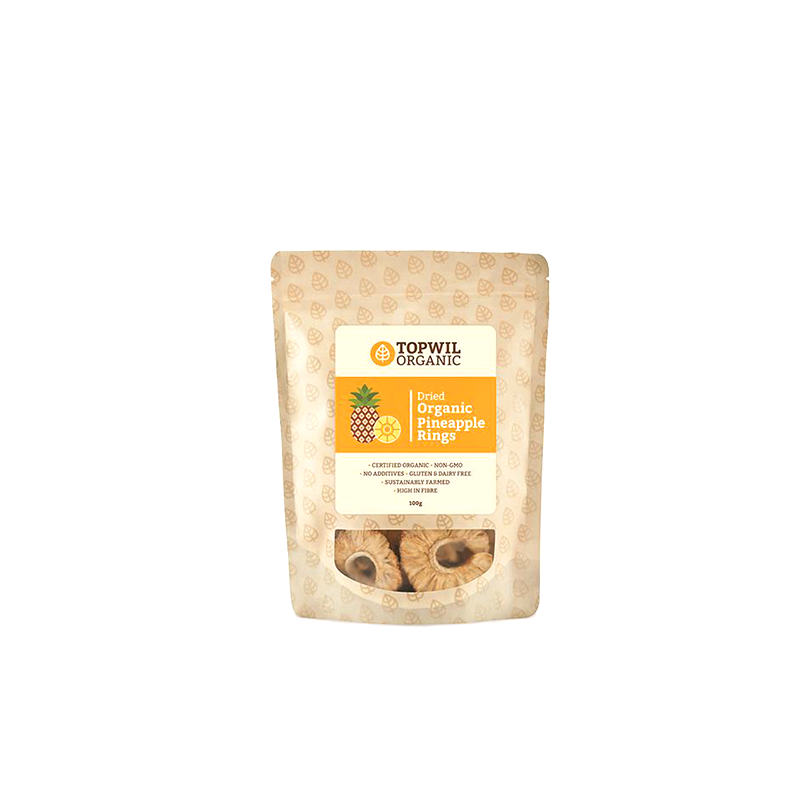 Topwil Organic Dried Pineapple Rings 100g