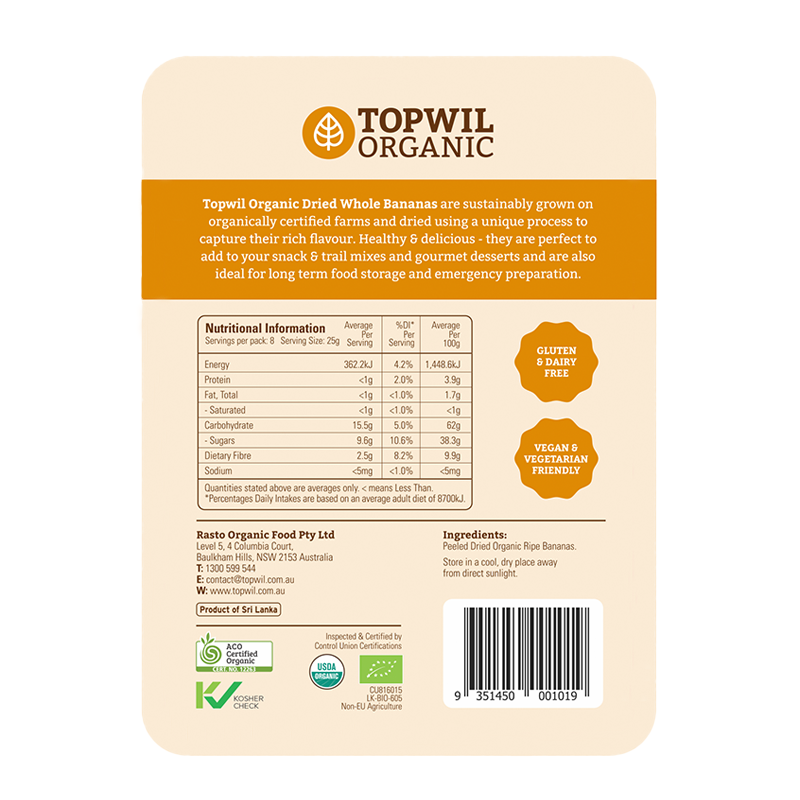 Topwil Organic Dried Whole Bananas 200g