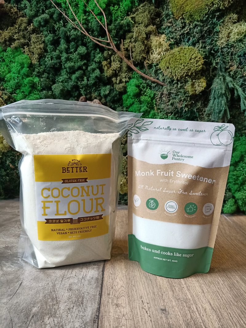 Cocoro Coconut Flour 1kg + Our Wholesome Pantry Classic Monk Fruit Sweetener 454g